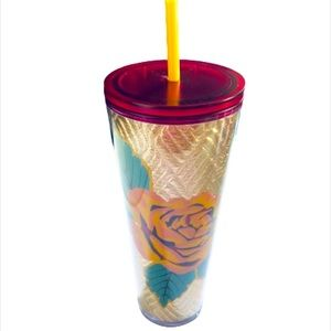 NEW Starbucks Gold Floral Foil Roses Tumbler 24oz